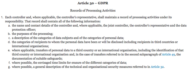 Article 30 - GDPR