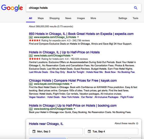 Google Chicago Hotels Search