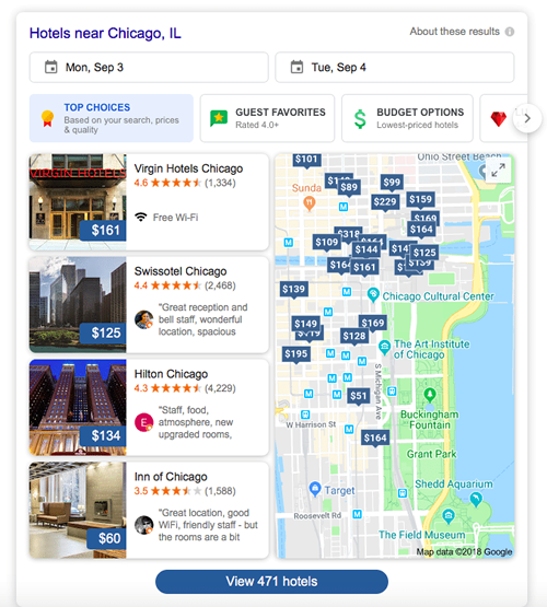 Google Chicago Hotels Interface