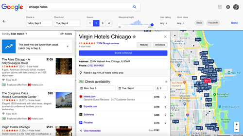 Google Chicago Hotels Paid Ads