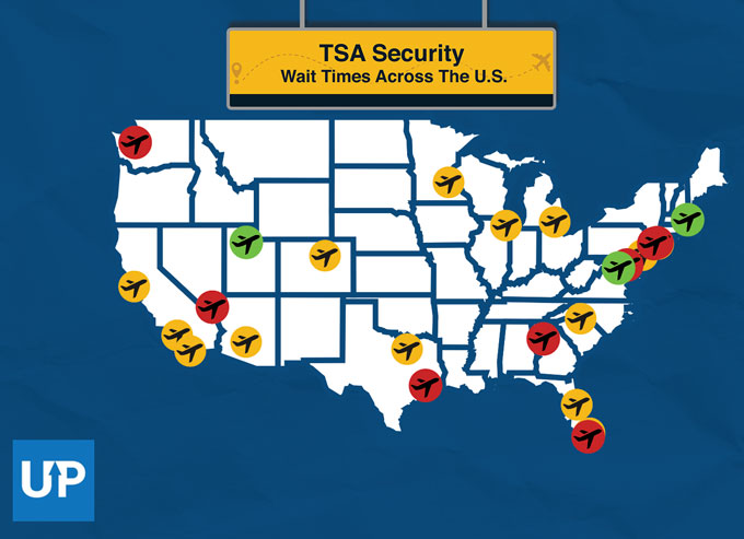 Map of the Average TSA Security Wait Times by U.S. Airport